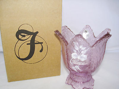 FENTON Art Glass VOTIVE Rose Pink Horizon Of Hope 2009 Longaberger Hand Painted