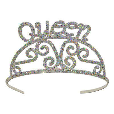 Silver Queen Tiara Costume Royal Crown Medieval Birthday Renaissance Party Event