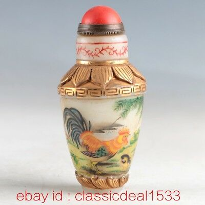Antique Chinese Cloisonne Hand Inside painting RoosterEnamel Snuff Bottle MY0298