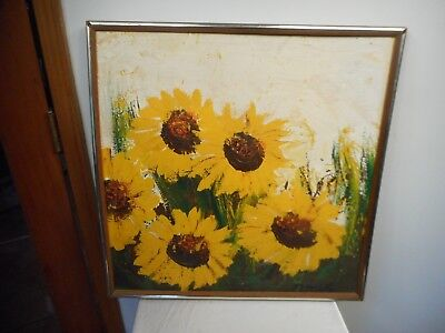 "Framed & Signed Vintage Painting Of Yellow Daisies 25"" X 25"""