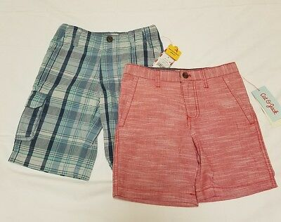 Boys Chino Cargo Shorts Size 6 Lot of 2 Adjustable Waist Cat Jack Red Blue NEW