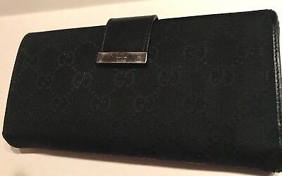 Gucci Womens Leather-Canvas  Large Wallet