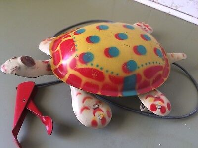 Vintage Tin Toy Mobo Walking Tortoise Toy , Tin Toy 40s 50s Toy