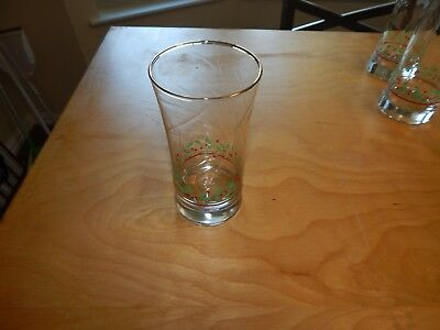 Arby's Christmas Holly Berry Beverage Water Glasses Tumbler Gold Trim Holiday
