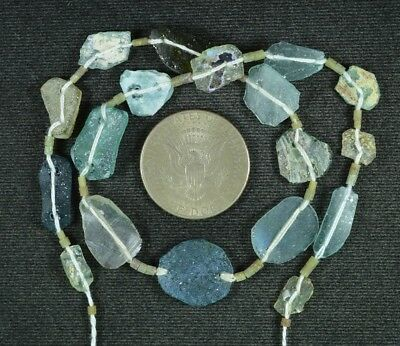 Ancient Roman Glass Beads 1 Medium Strand Aqua And Green 100 -200 Bc 894