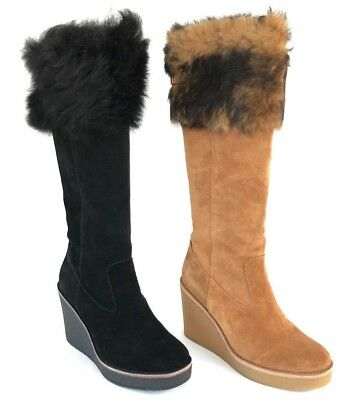 b819f3340071 Ugg Valberg Wedge Womens Suede Luxurious Sheepskin Cuff Leather Lining Boots