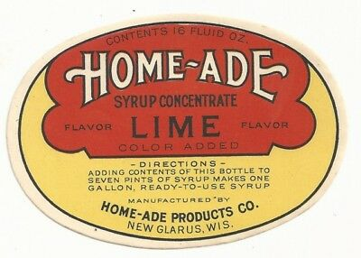 1930's Home-Ade Syrup Concentrate Lime Label - New Glarus, WI