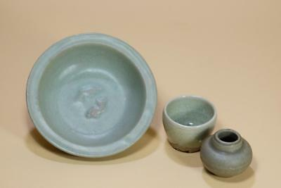 Ming Antique Chinese Celadon Plate,Cup And Pot.