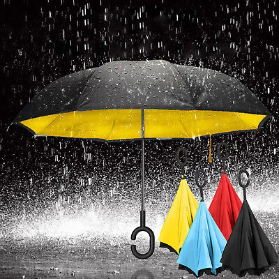 C-Handle Windproof and rainproof sunscreen  Upside Down Folding Umbrella