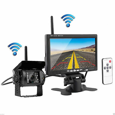 "7"" Monitor + CCD Wireless Rear View Backup Camera Night Vision For RV Truck Bus"