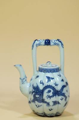 """Antique Chinese Blue And White """"Melon type""""  Dragons Teapot.Marked."""