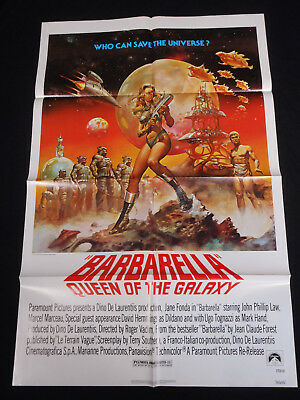 Barbarella R-1977 * Jane Fonda * Sci-Fi * One Sheet * C10 Mint Unused * Sexy!!