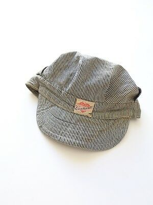 Vintage 1950s 50s Carhartt Engineer RAILROAD hat cap HICKORY STRIPE sanforized