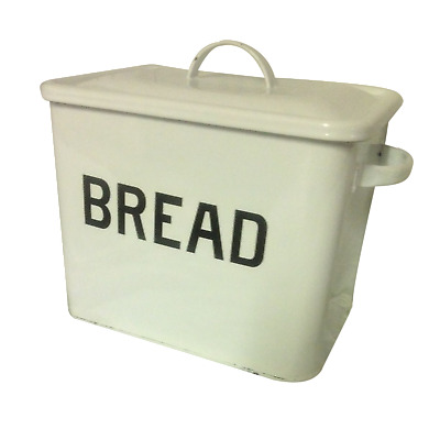Vintage White Enamelled Bread Bin
