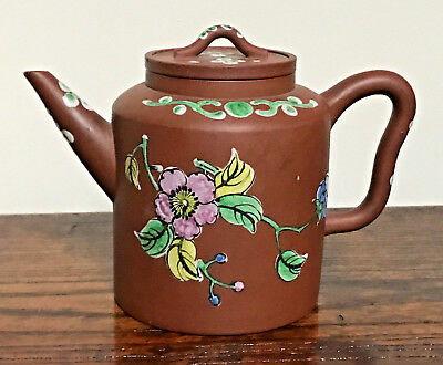 Beautiful Chinese vintage Yixing Clay Teapot with enameled flower designs