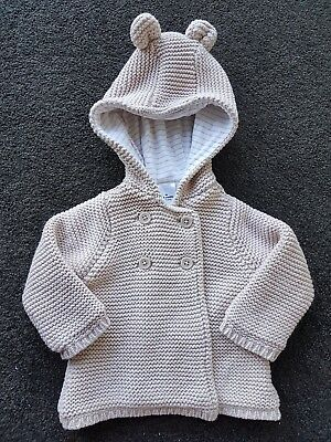Unisex 100% Cotton Knitted Jacket With Hood size 00 (3-6 months) Beige