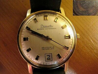 Primato Super Automatic 14kt 585 Gold  Herrenuhr 25 Jewels Incabloc Lederarmband