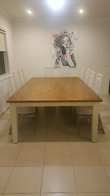 12 seat solid timber dining table & 12 chairs