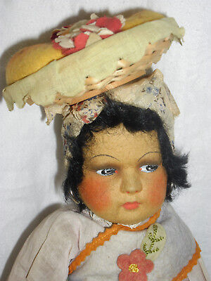 "15"" (38cm)  RARE ANTIQUE FELT DOLL BY EX LENCI TOP DESIGNER JOAO PEROTTI"