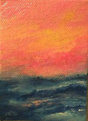 Acrylic Painting Original ~ Abstract Sunset ~Aceo~Marina Del Rey