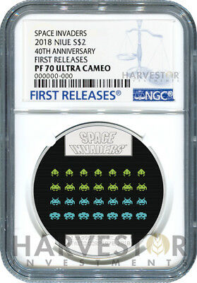 2018 Space Invaders 40Th Anniversary - Ngc Pf70 First Releases - With Ogp