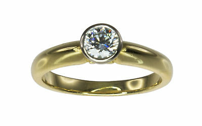 Solid 18k Yellow Gold Solitaire 0.50ct Bezel Diamond Engagement Ring Sz.O #3122