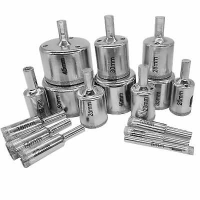 UK 16 PCS Diamond Hole-saw Drill Bit Set Tile Porcelain Glass Marble Cutter TN