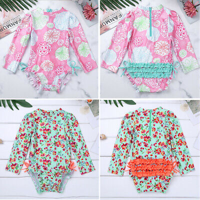 Baby Long Sleeve Rash Guard Floral Swimsuit Swimwear Back Zipper Bathing Suit