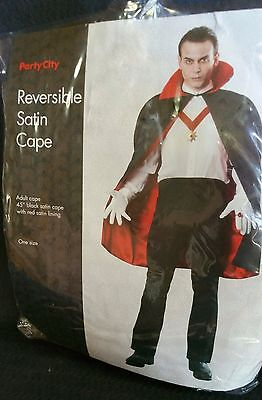 "VAMPIRE SATIN CAPE Unisex Reversible Rubies Costume Accessory 45"" L Halloween #C"
