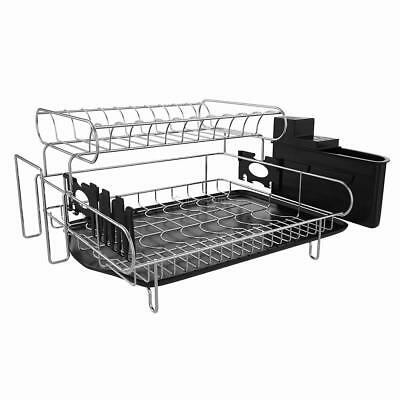 Foldable Dish Plate Drying Rack Organizer Drainer Storage Holder Kitchen 2 Tiers  sc 1 st  PicClick & 2 TIER KITCHEN Drip Dish Racks Drainer Plate Bowl Storage Holder ...