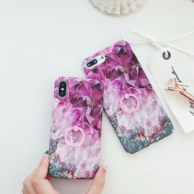 Shockproof Marble Phone Case For iPhone X 8 7 6S Plus With Finger Ring Kickstand