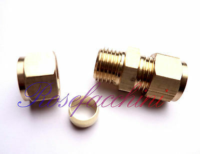 "10mm = 3/8"" BRASS STRAIGHT COMPRESSION CONNECTOR JOIN LPG GAS PIPE FITTING OLIVE"