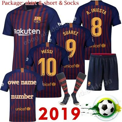 18/19 Football Jersey Soccer Home Kits Short Shirt 3-14 Years Kids Boy Socks