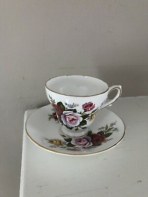 Royal Sutherland Staffordshire roses floral tea cup and saucer bone china