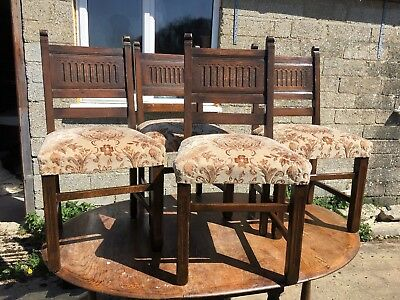 Set of 4 Vintage, Upholstered Solid Oak Dining Chairs with carved back panels