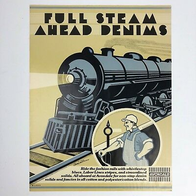 Vintage Avondale Color Poster / Ad Of Train & Engineer - Full Steam Ahead Denims