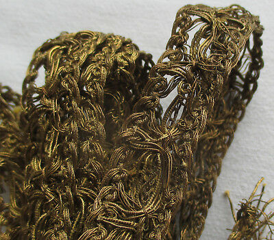Two Pieces Gold Metallic Open Weave Trim Dark Patina French
