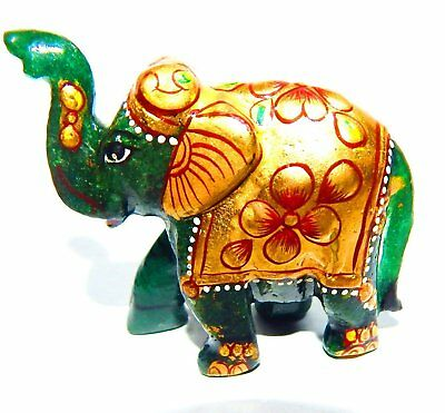 Green Aventurine Gem stone Painted Elephant Home Decoration Item 351.5Cts