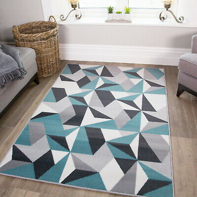 Modern Grey Duck Egg Blue Puzzle Living Room Rug Kaleidoscope Geometric Area Mat