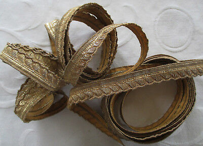 Vintage Gold Metallic Trim Stylzied Rope Design Golden Tan Patina 5 Yrds  French