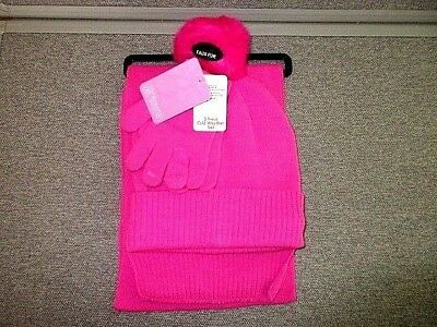 Girls Cold Weather Berkshire Fashions 3 Pc Hat Scarf   Gloves Size ... fa28de39a8ed