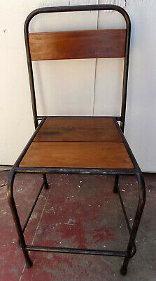 Chair Vintage Cast Iron & Wood Teak Natural cm42x46x90h Seated Industrial