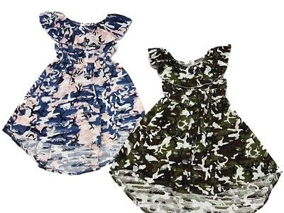 Girls Kids Summer Blue Khaki Camo Army Cotton Rich Asymmetrical Dress  2-10 Y