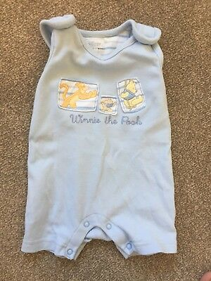 Winnie The Pooh Disney Short Romper Dungarees Baby Boy 0-3 Months