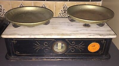 Antique Henry Troemner Apothecary Pharmacy 5lb scale, Black wood, White marble