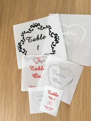 Table Number or Name Stickers for wedding engagement party dinner celebration