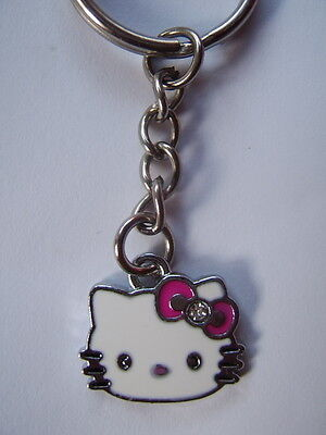 Hello kitty Enamel key ring .Hot pink bow     FREEPOST  *UK SELLER*