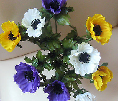 Artificial Anemone bunch With Nine heads .purple & Yellow.....