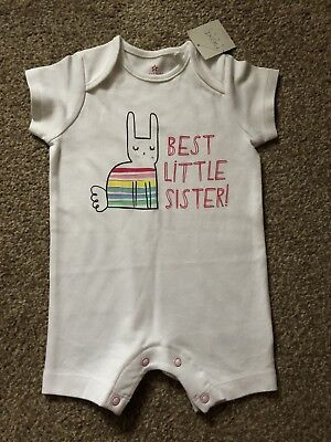 'Best Little Sister' Shortie Romper From Next 6-9 Months New With Tags Fab Gift