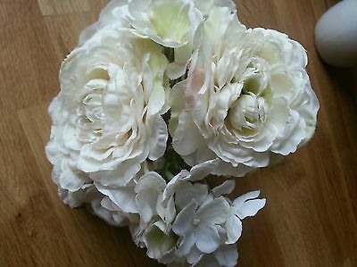 Artificial Flower tied posy.Ivory Roses & Hydrangea.Small vase Or Bridesmaid